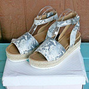SODA Topic Sandals Espadrille Python Beige NEW